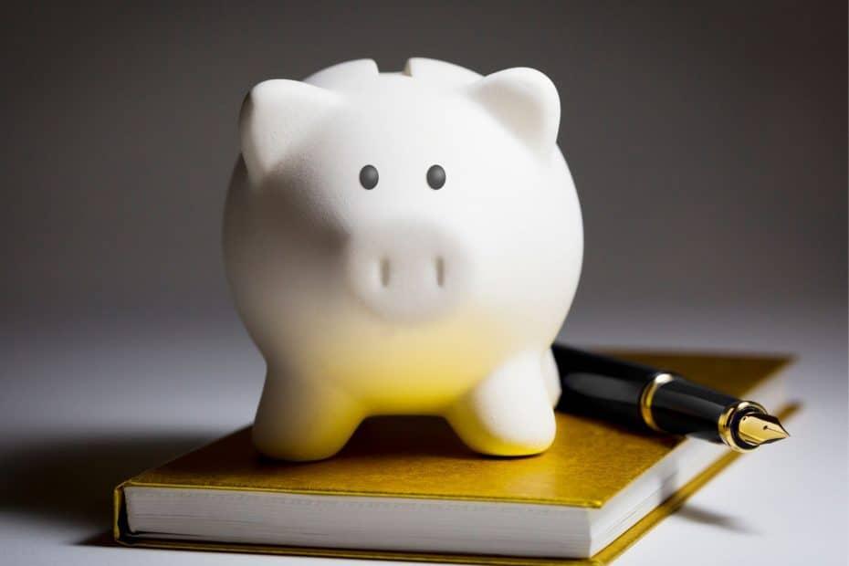 Piggy bank on book