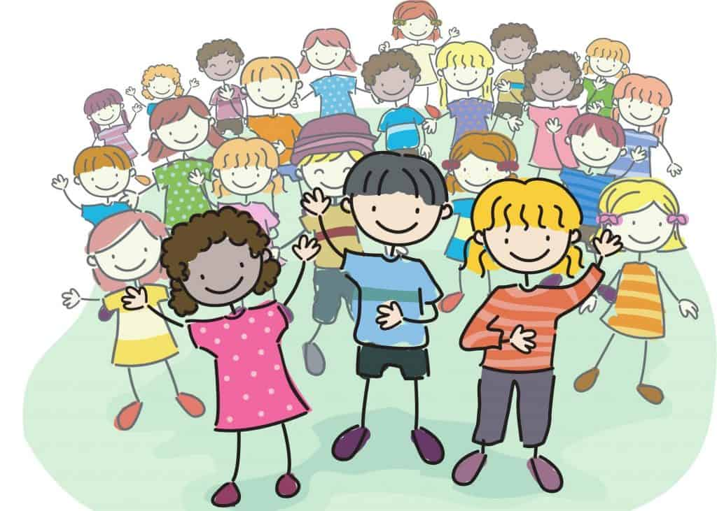 Crowd of illustrated children