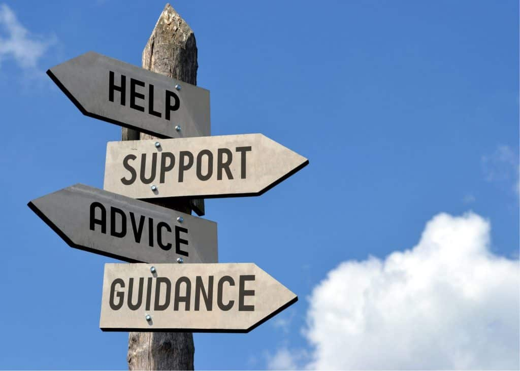 Sign with help support advice guidance
